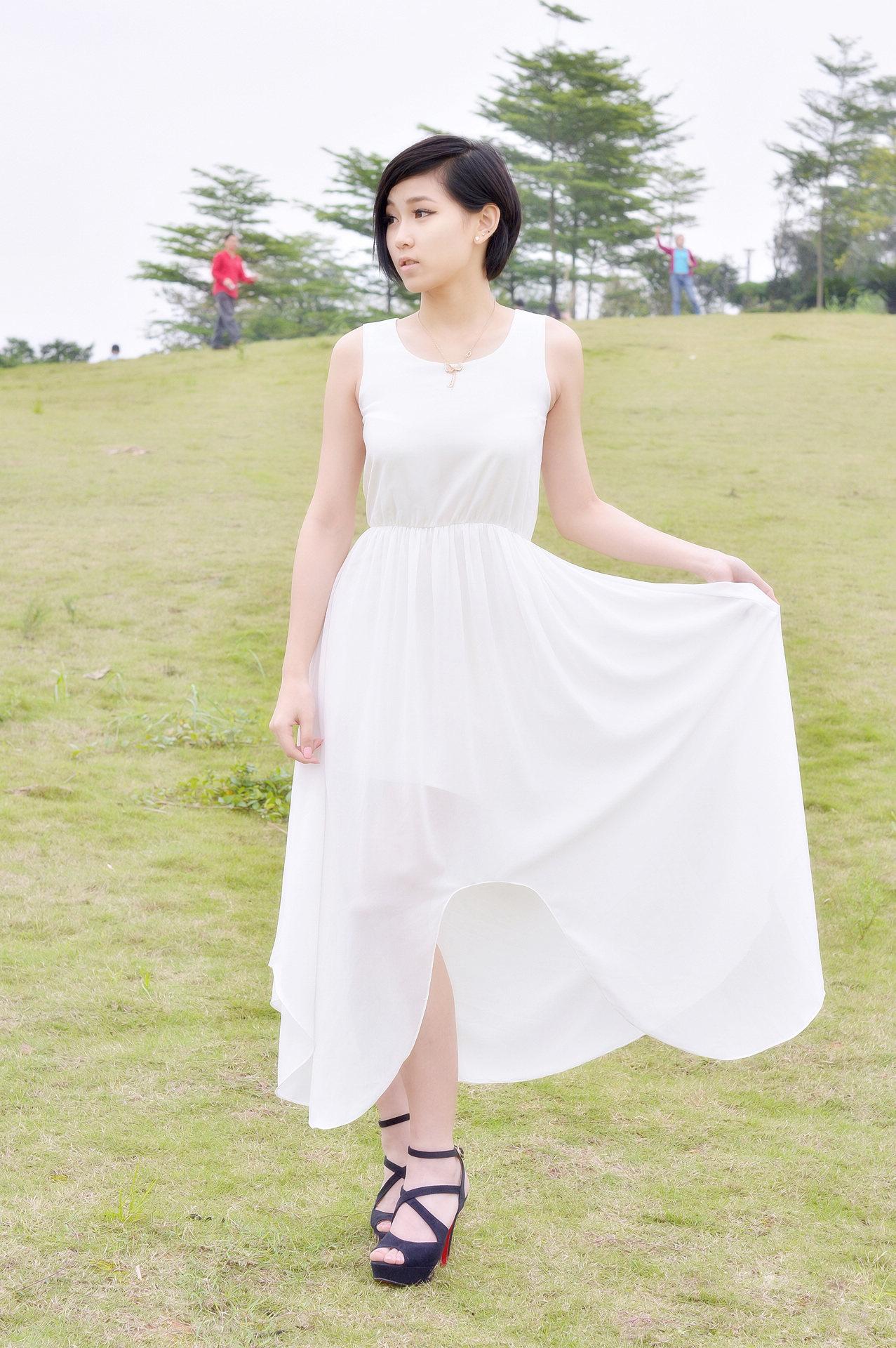 品美女白裙少女
