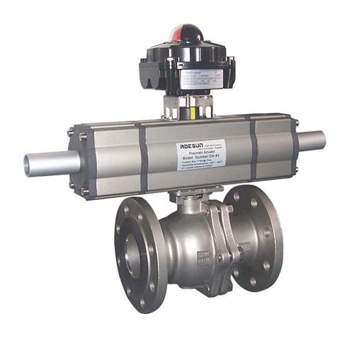由两段式气动执行器和球阀或蝶阀组成,通过改变附加气缸的活塞行程,执图片