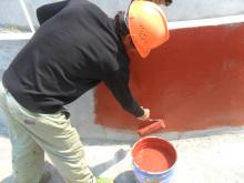 聚氨酯防水涂料施工现场