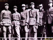 左起:陈毅粟裕傅秋涛周恩来朱克靖叶挺
