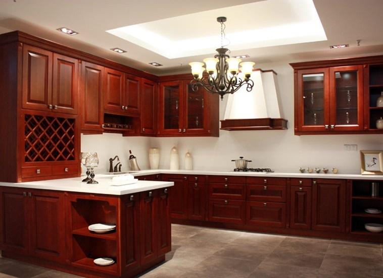 美式厨房整体实木橱柜装修效果图图片