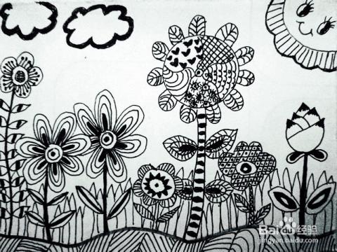 创意黑白线描画蝴蝶 黑白线描创意装饰画 黑白线描画图片