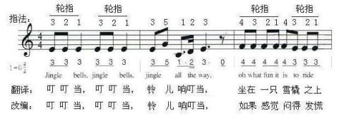 电子琴铃儿响叮当词曲翻译改编