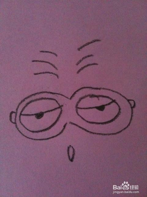 这是很衰的表情咯.眼镜的角度是变化重点.图片