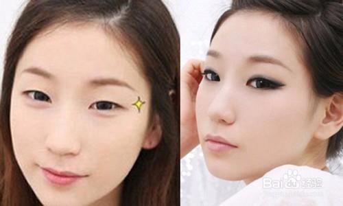 3 小眼睛:纹眼线时上眼线的色彩应更深,下眼线细且淡些,上下眼线尾部图片