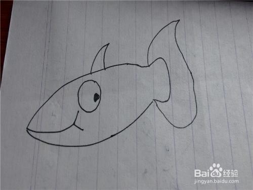 儿童简笔画鲨鱼的画法