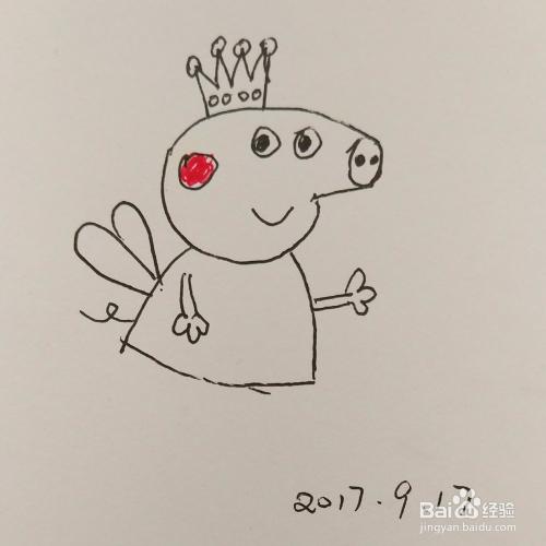 简笔画卡通 小猪佩奇仙子的画法 步骤