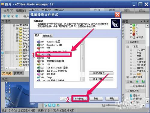 """4 4,在转换窗口中选择""""jpg jpeg""""格式,然后按""""下一步"""".图片"""