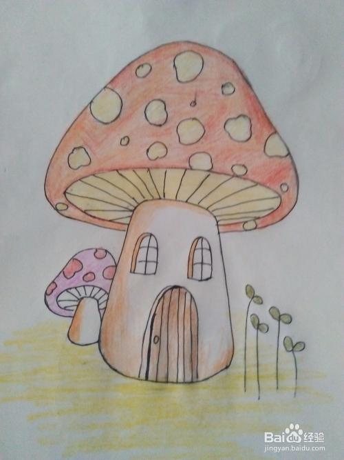 卡通画蘑菇房子怎么画图片