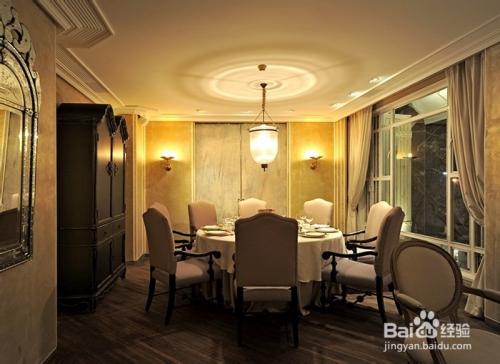 简约美式餐厅包房内灯具案例图片