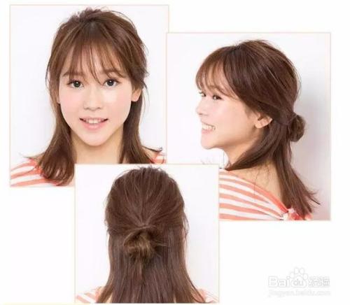 中长发半扎丸子头发型图片