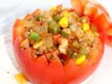 宝宝创意食谱---五彩西红柿盅图片