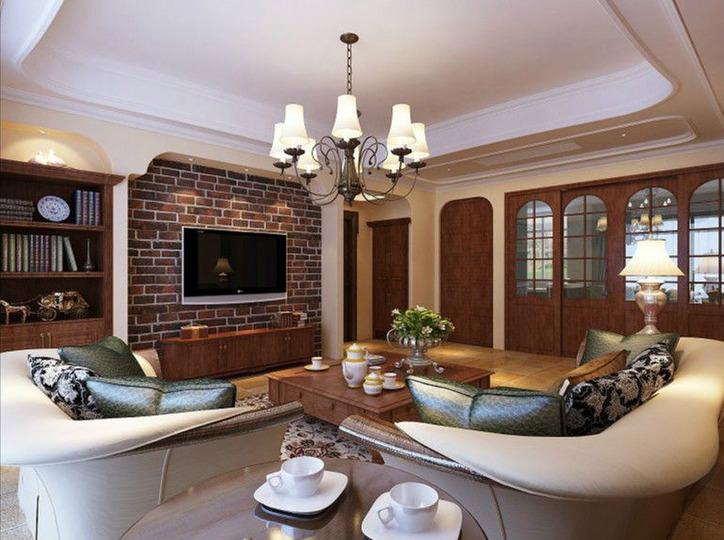 大户型144平方米四房一厅美式风格家居卫生间浴室柜浴缸灯具装修效果图片