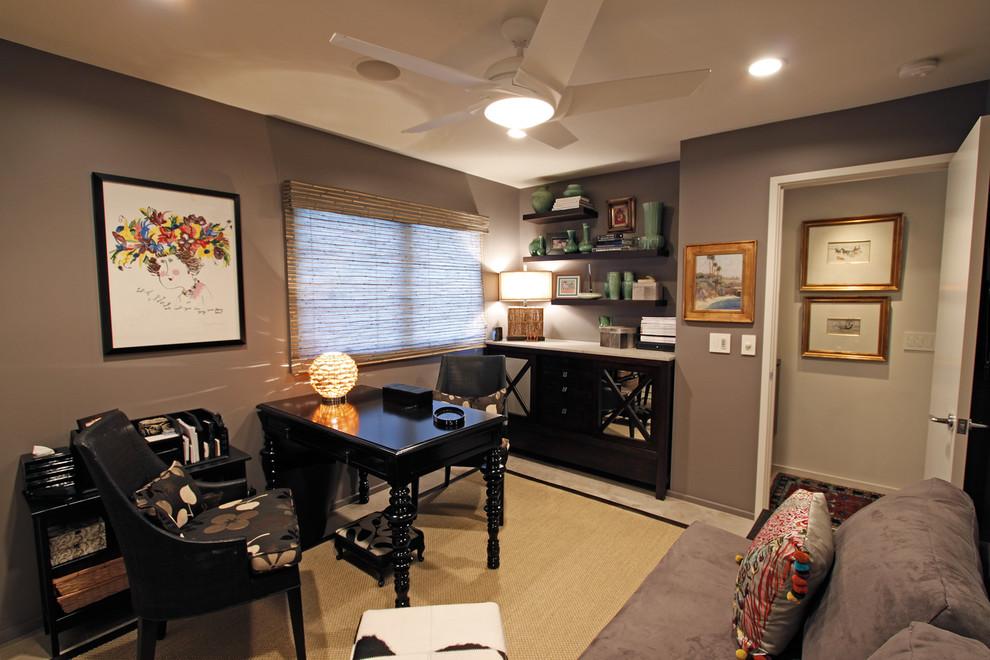 现代风格三室一厅个性书房书架书柜书桌椅子家具装修效果图 高清图片
