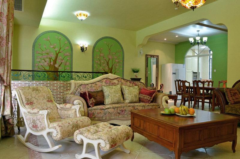 3-5万60平米欧式二居室装修效果图,田园风格时尚设计装修案例装修案例图片