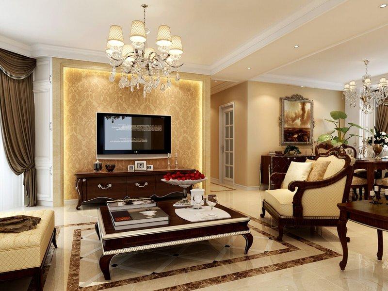 5-10万130平米欧式三居室装修效果图,130平欧式经典装修案例效果图图片