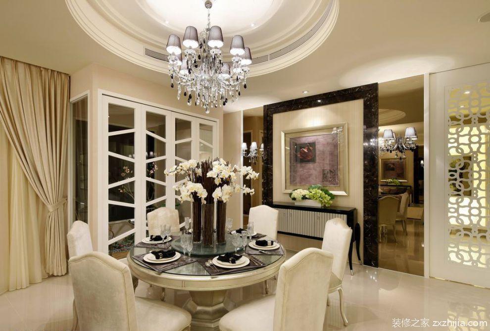 线面艺术的极致飨宴四室两厅欧式餐厅美图_装修之家装修效果图图片