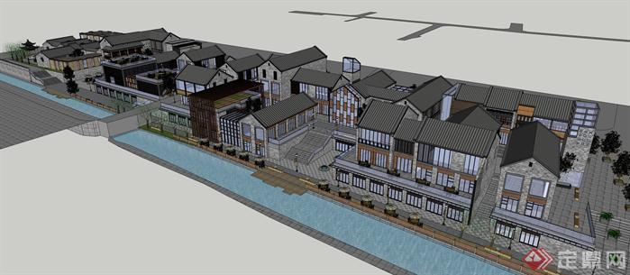 新中式商业街建筑设计 超大场景 超精细su模型[原创]图片