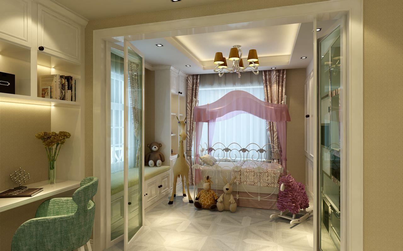 2013现代风格三居室经典时尚女孩儿童房窗台窗户窗帘吊顶高清图片