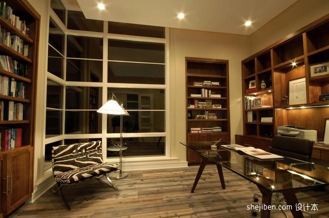 2013欧式风格别墅宜家书房椅子书桌书架书柜吊顶装修效果图高清图片