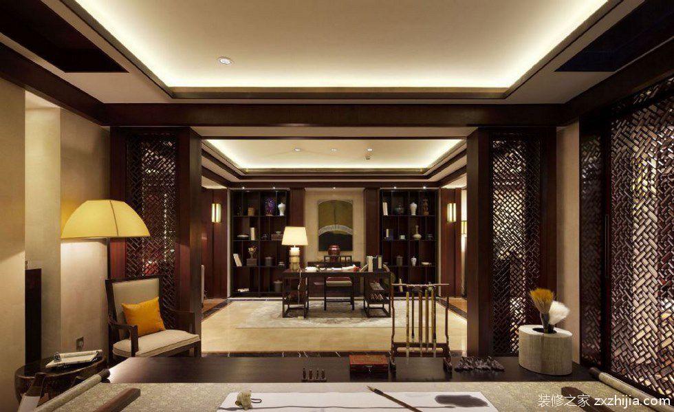 中式风格书房书架装修案例_装修之家装修效果图图片
