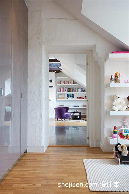 2013现代风格三室一厅家装儿童房与书房过道装修效果图欣赏 高清图片