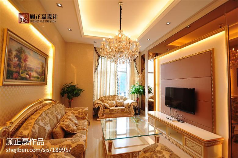 奢华欧式客厅硬包电视背景墙装修效果图 高清图片