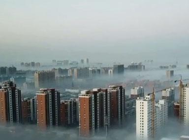 太美啦!河北沙河现平流雾奇观