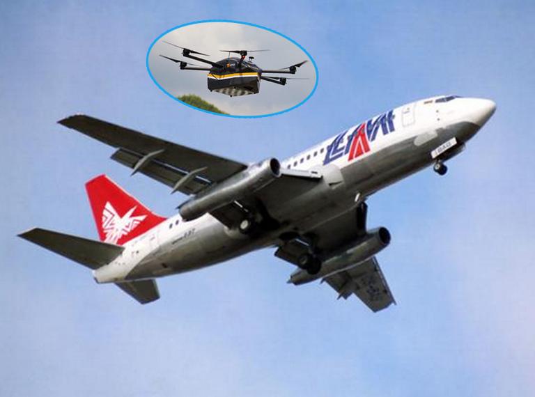 黑飞无人机近距离拍摄客机降落