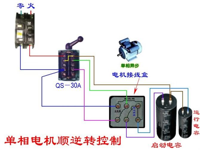 单相电机双电容正反转接线图-电气正反转接线图图片