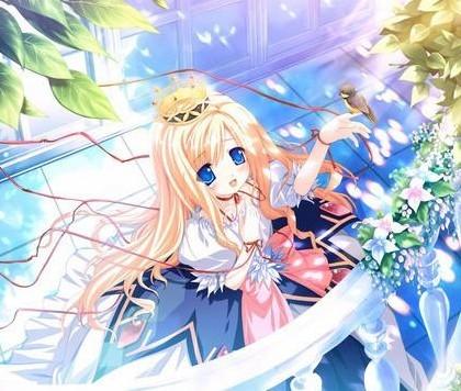 日本动漫 一个黄发蓝瞳的女生图片还要一个黑发紫瞳