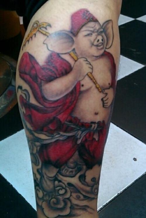 纹身猪的文身活猪亮相