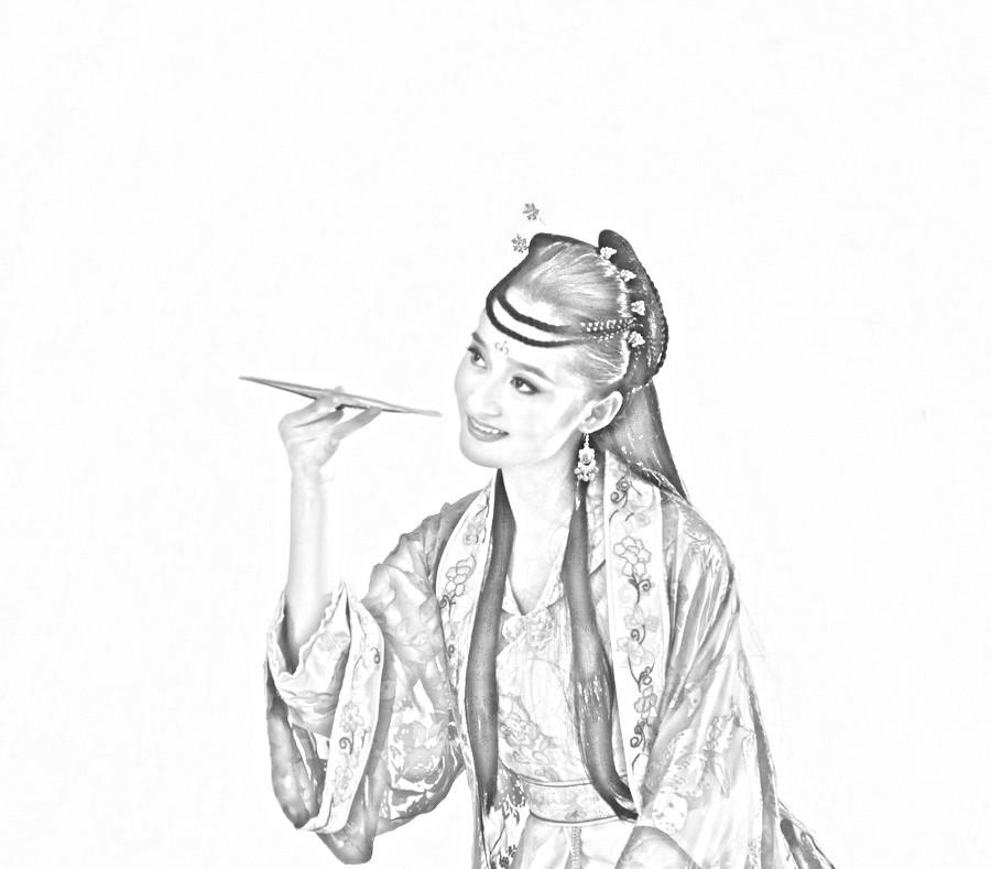 谁又铅笔素描的古装美女图片