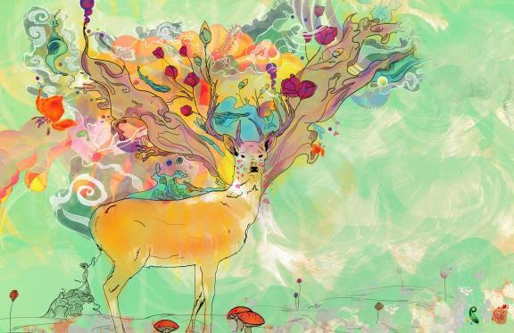找一张图 有关抽象森林景象和动物题材 色彩以小清新为主图片
