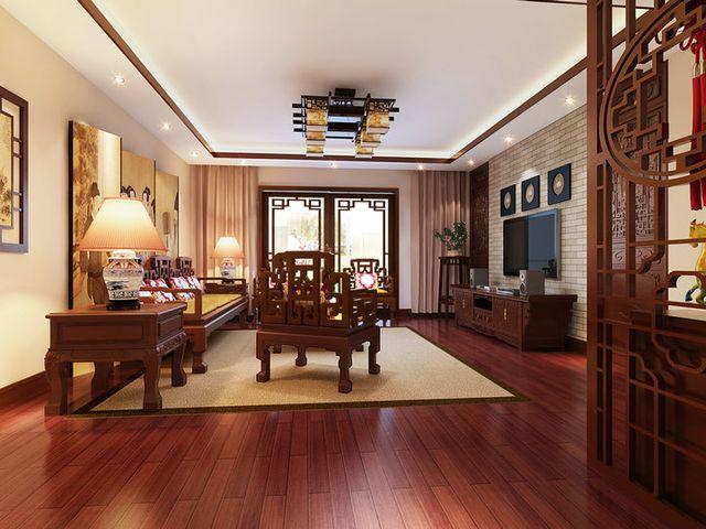 现代中式装修配客厅什么窗帘效果图图片