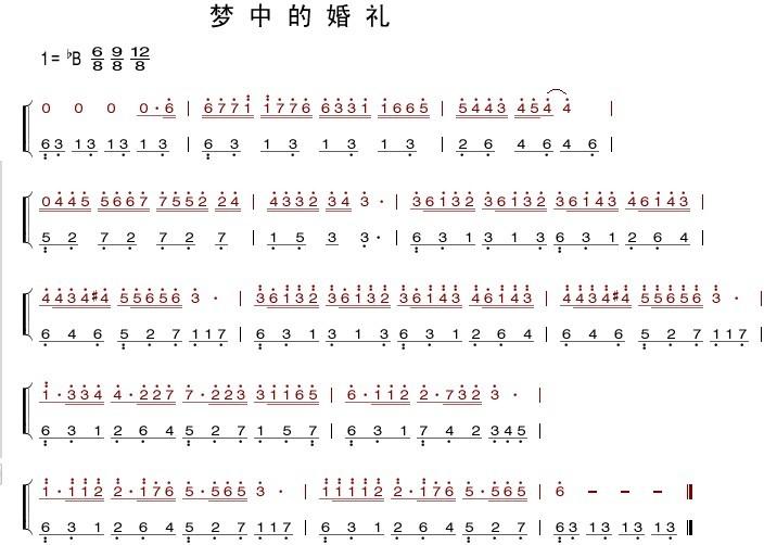 梦中的婚礼钢琴简谱,要数字的,要准确的图片
