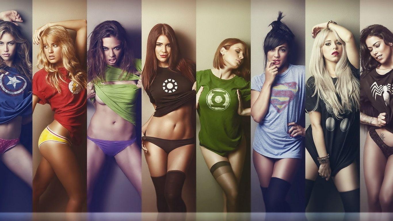 求美女们穿着漫威英雄的衣服的超清壁纸