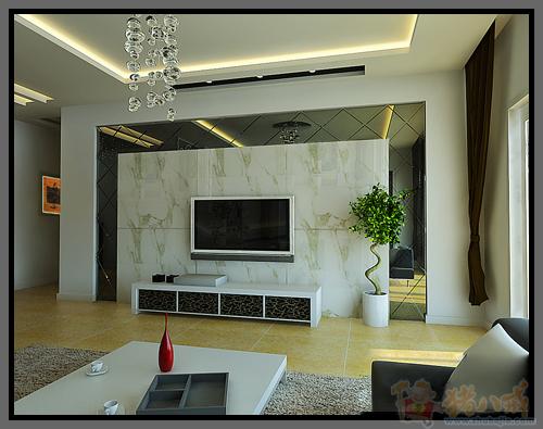 房子装修电视背景墙用点黑镜做装饰 背景墙做东朝西 ...
