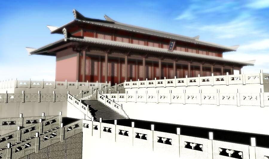 唐朝国都是在长安,即现在的西安,唐朝宫殿是沿用之前朝代的宫殿,所以图片