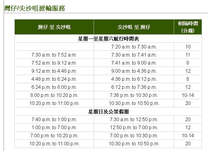 香港天星码头时刻表
