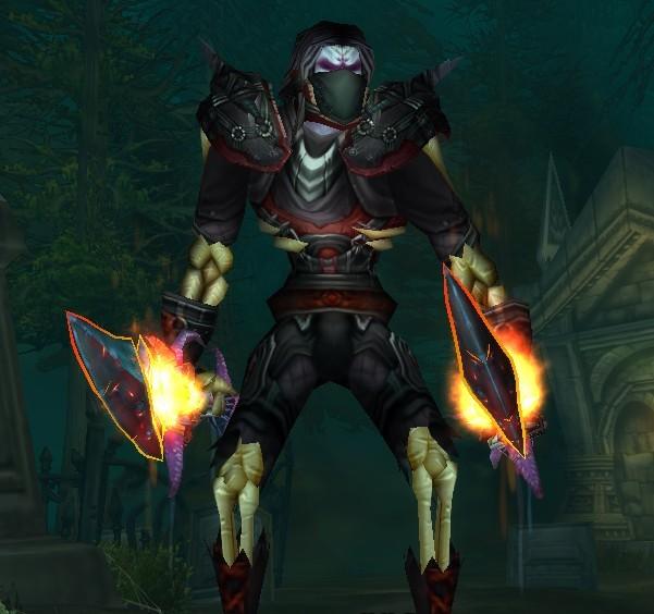 我现在就是幻化的血牙一套; 求亡灵盗贼最阴森的幻化装备~!要黑色的!