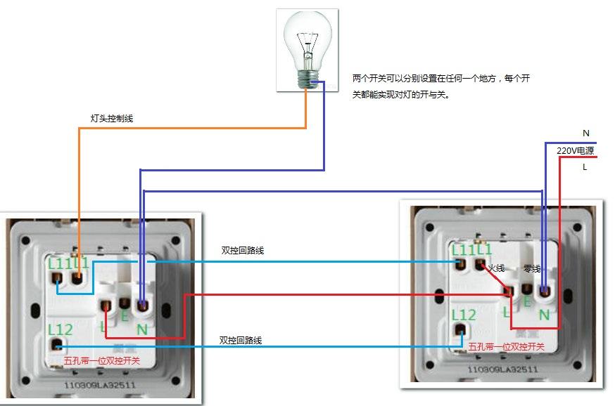 同时两个开关控制一个灯,开关里外各一个,接线方法怎么接?图片