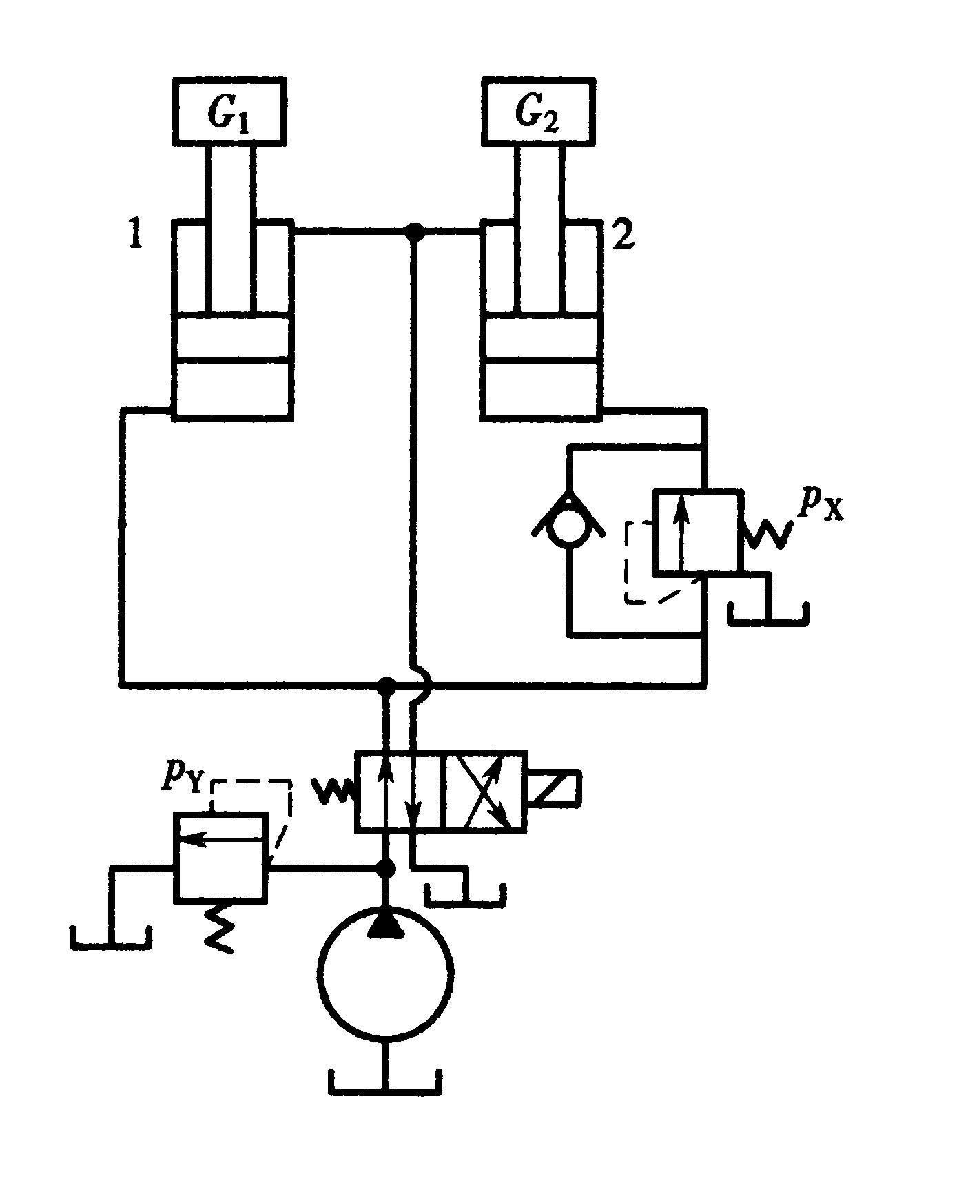 两液压缸的工作顺序为:液压缸1先动,上升到顶端位置后液压缸2再向上图片