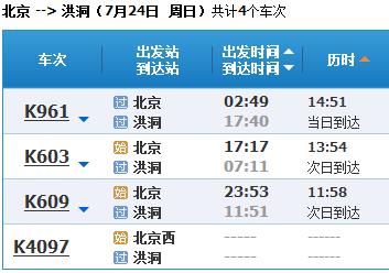 北京到山西洪洞