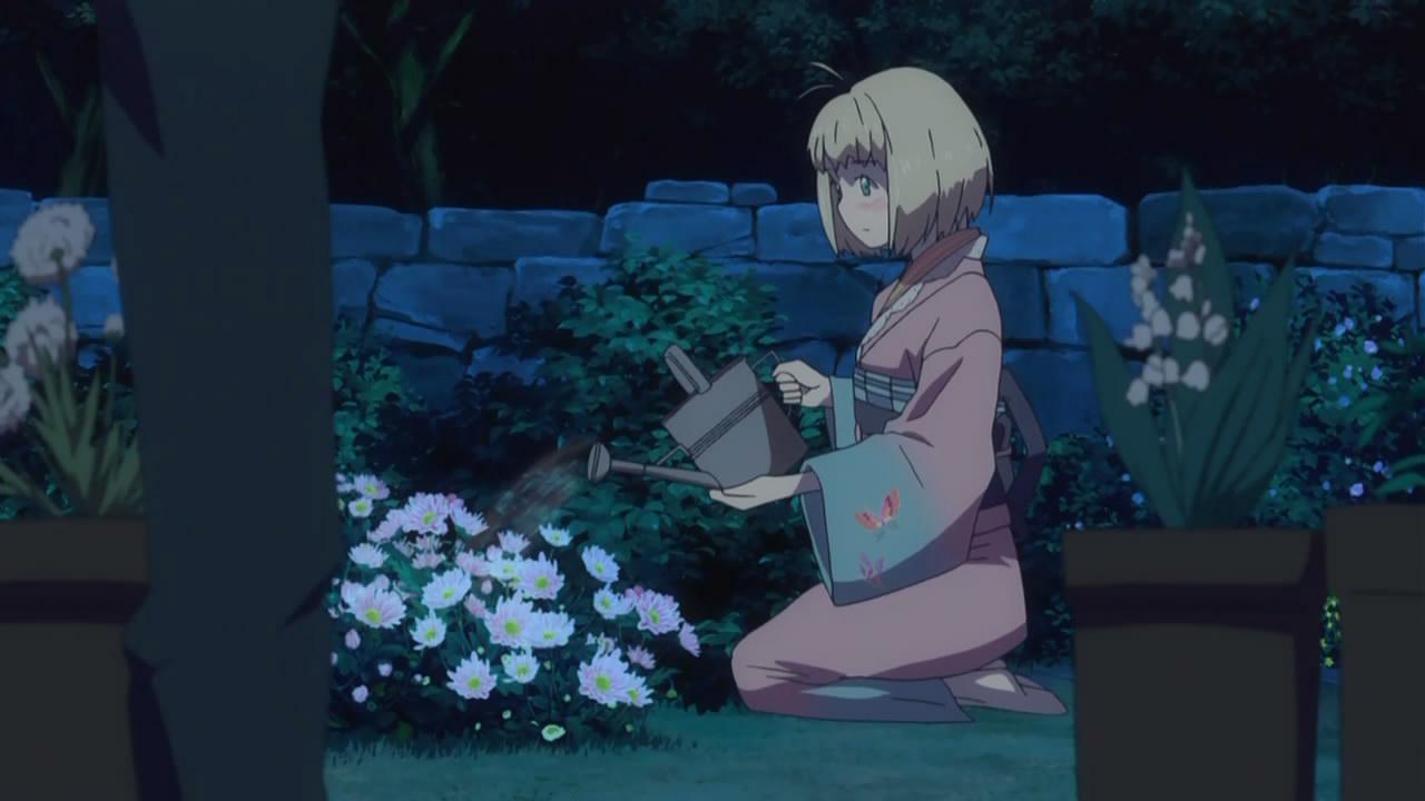 孩侧面俯身要摘花