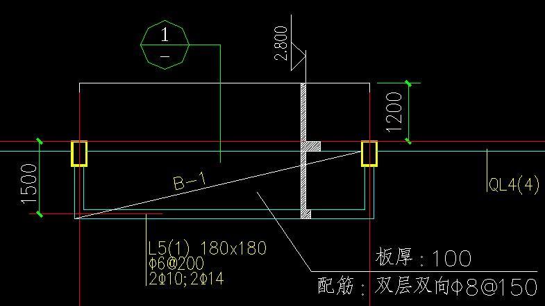 结构施工图中的小剖面(比如说板式雨篷,就直接画一个小剖面图在那根梁图片
