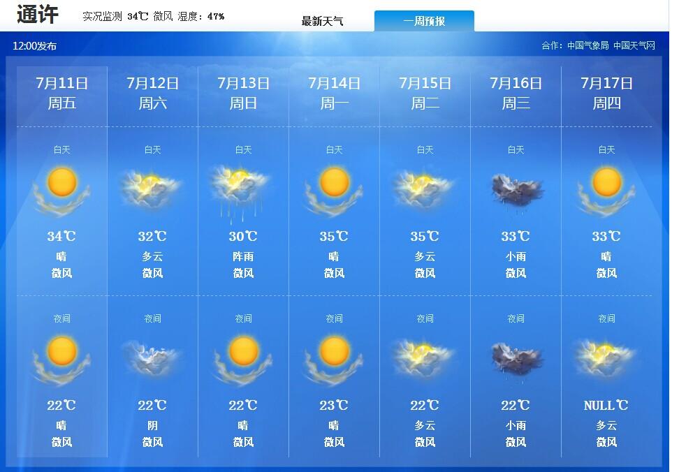 15天天气预通许报查询+