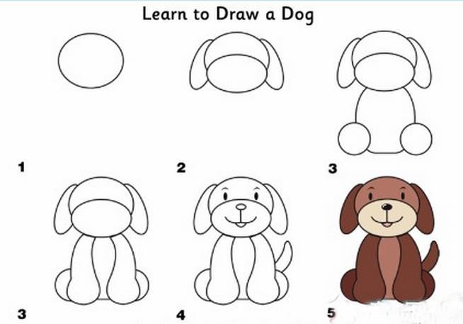 七彩狗狗简笔画方法