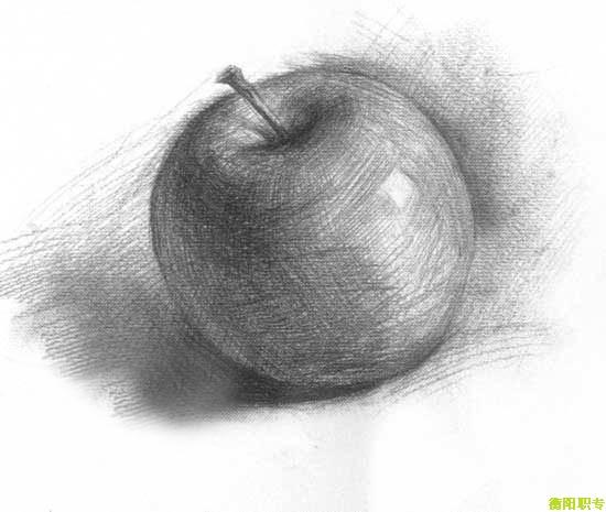素描花盆,苹果的图片.图片