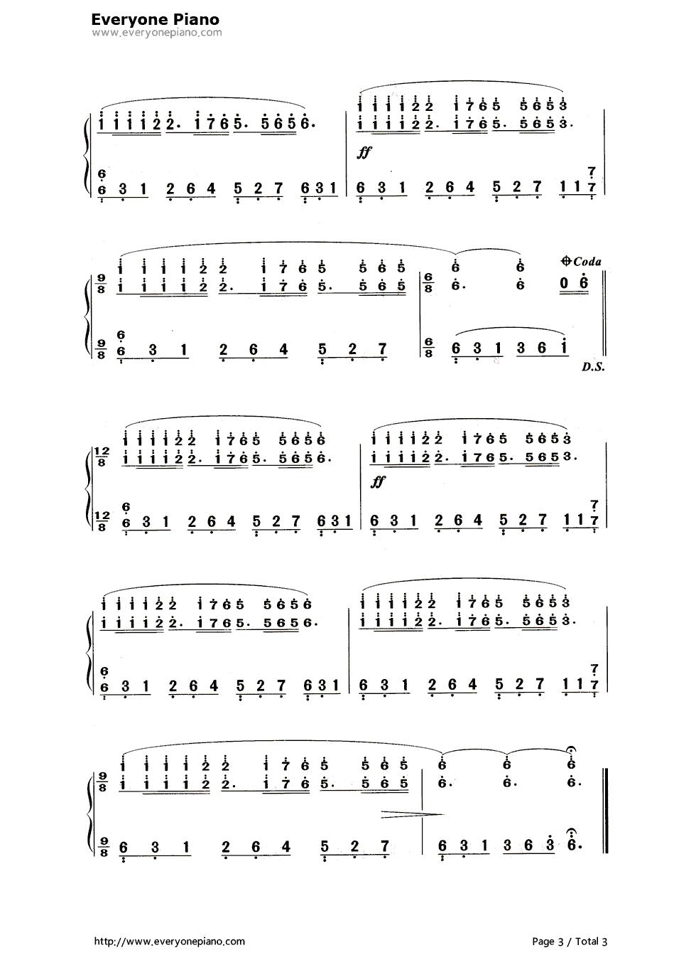 单手梦中的婚礼钢琴曲谱图片